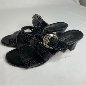 Brighton Tinsel Black Silver Buckle Sandals Shoes